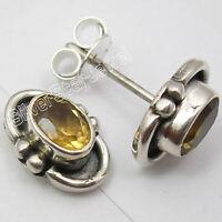 925 Solid Silver Women Wedding Jewelry Citrine Ear Stud Earrings