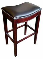 Saddle-Style 3210 - Lynn Bar Stool in Espresso Finish and Black Vinyl Upholstery