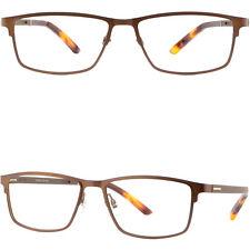 Light Mens Titanium Frame Wide Metal Prescription Eyeglasses RX Sunglasses Brown
