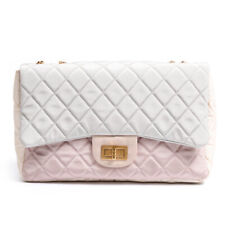 CHANEL Handbag Pastel Limited Edition 2.55 Re-issue Pink Grey & Ivory Nylon