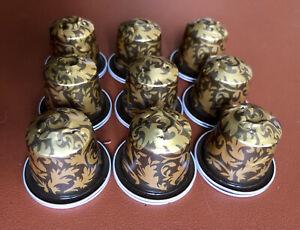 10 Stück Nespresso Kapseln leer & handgespült - Braun/Gold Floral