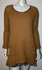 JOE BROWNS Harvest Yellow Brown Floral Lagenlook Sweater Tunic Dress 6