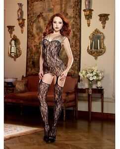 STRETCH LACE GARTER DRESS BODYSTOCKING ATTACHED GARTER & THIGH HIGH STOCKINGS