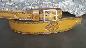 Hand made leather Cobra style rifle sling with Celtic crosses.Any colour
