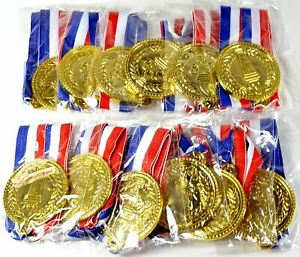 12 x Kids Olympic Plastic Gold Winners Medals Awards Party Games Sports Prizes