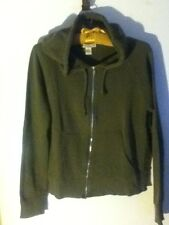 Zip Hoodie Sweat Top L Forever 21  Green Cotton Pocket Dance Work Fitness Jacket