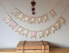 ❤️ 40th Ruby Wedding Anniversary Bunting Banner. Hessian Burlap Rustic Vintage ❤