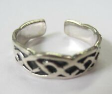 Sterling Silver Adjustable Toe Ring Celtic Design Solid 925 Oxidized Jewelry