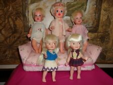 Vintage 1960s Tearful Cheerful Baby Fun Remco And Pocketbook Small Doll Lot Of 5