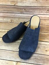 Clarks Cushion Blue Jean Heels Size US 9 Womens Slides Peep Toe Block Sandal NEW