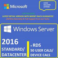 Windows Server 2016 Standard / Datacenter + RDS 50 User / Device Cals ⭐Top Sale⭐