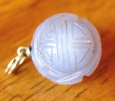 ANCIENT RARE 15MM BLUE PURPLE CHALCEDONY SHOU LUCKY CHINESE CARVED BEAD PENDENT
