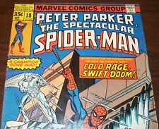 Peter Parker the Spectacular Spider-Man #18 vs. Iceman from May 1978 in VG+ con.