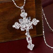 Vintage Men Women Fashion Silver Cross Jesus Charms Pendant For Necklace T