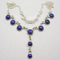 Solid Sterling Silver Lapis Lazuli Link Necklace New Handmade Jewelry