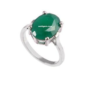 Natural Green Onyx Ring 925 Sterling Silver Green Onyx Handmade Plain Stone Ring