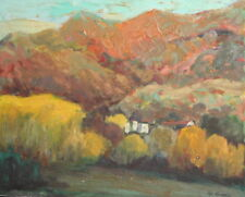 Vintage Bulgarian expressionist Oil Painting, Mountain Landscape, Signed