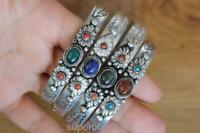 BR023 Tibetan Silver Onyx Lapis Stone Bangle Cuff Ethnic Bracelet for Women