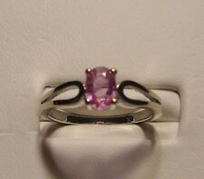 NEW Pink Sapphire Ring 14k White Gold Size 6.25