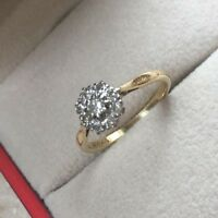 Old 18CT Yellow Gold/Plat Diamond Engagement/Dress Ring, Hm 375 Size N