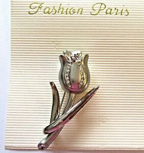 Pin/Brooch- TULIP flower - silver color- clear stones