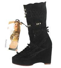 Shakuhachi Black Suede Leather Bohemian Wedge Boots Wmn Sz 6.5 / 7 EUR 38 NEW