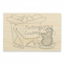 HOUSE MOUSE RUBBER STAMPS GOOD FORTUNE NEW WOOD STAMP