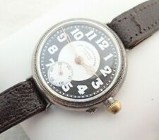 Vintage Men Swiss The Vacuum Lever Trench Sterling Silver Wristwatch Watch Parts
