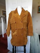 BEAUTIFUL LADIES REAL SUEDE LEATHER JACKET. DOUBLE BREASTED.RUST COLOUR. SIZE 14
