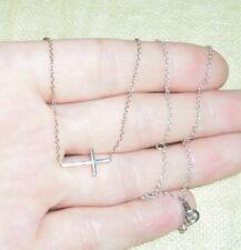 Sterling Silver Sideways Cross Pendant Link Chain Necklace Adjustable
