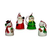 Set/4 Santa Frosty Elf Glass Bells Christmas Ornaments Retro Vintage Style Decor