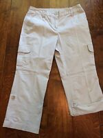 "Style & Co. 10p Womens Petite Cargo Capri Pants tan khaki rolled leg 31"" waist"