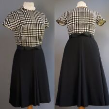 Vtg Xollner Zollner Berlin Germany Couture Wool Houndstooth Black Dress S M