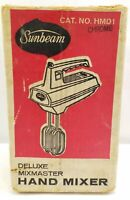Vintage Sunbeam Deluxe Mixmaster Hand Mixer Chrome HMD1 with Box