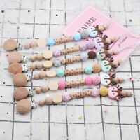 Deer Silicone Wooden Beads Baby Teething Personalised Name Pacifier Chain Clips