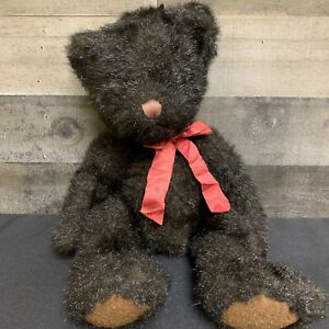 "Russ Dickens Teddy Bear Dark Brown Stuffed Plush 16"" Vintage"