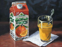 Original Still Life Painting of Orange Juice - (12 x 9 inch) by John Wallie