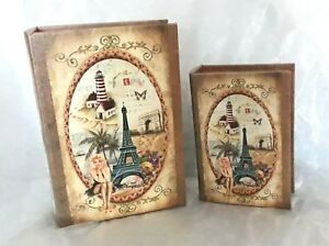 Storage book boxes Eiffel tower design vintage style pair 20cm and 27cm-NEW