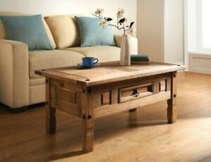 Rio Coffee Table 1 Drawer Solid Natural Waxed Pine Living Room Furniture Unit UK