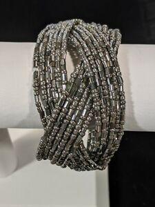 Silver Tone Gray Glass Braided Open Cuff Bracelet 10398