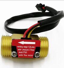 "Brass 1-25LT Water Flow Sensor Switch 1/2"" Hall Effect Meter Control DC 5-15V"