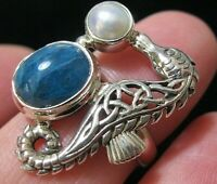 Beautiful STERLING SILVER Real Gem Stone Celtic SEAHORSE RING Size N 6.75