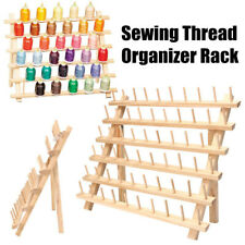 60 Spools Wood Sewing Thread Holder Rack Embroidery Storage Organizer Stand Gift