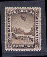 NEWFOUNDLAND C9v 1931 15c AIRMAIL DOG SLED & AIRPLANE P14.1x13.8 MPH VF CV$65