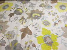 Amarillo & Marrón Otoño 100 Flores % Cortina de algodón Edinburgh Weavers Tejido