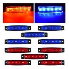 10x 6 LED 12V Truck Trailer Van Side Marker Indicators Lights Lamps -Blue +Red