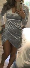 Light Ice Silver Gray Velvet Long sleeve Wrap Cocktail Clubwear Party Dress