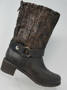 Stuart Weitzman Pimlico Womens Mid Calf Boot Size 6.5 Brown Leather Harness Knit