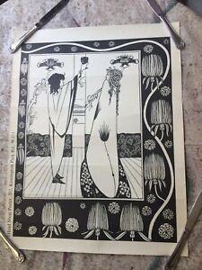 Aubrey Beardsley VINTAGE ART DECO PRINT How Sir Tristram Drank of the Love Drink