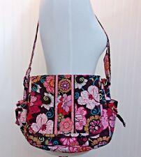 Vera Bradley Tote Lindsay Mod Floral Pink  Brown Flower Handbag Purse GUC